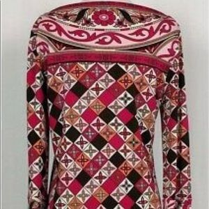 Tory Burch- Pink Abstract Print Boat Neck Tunic